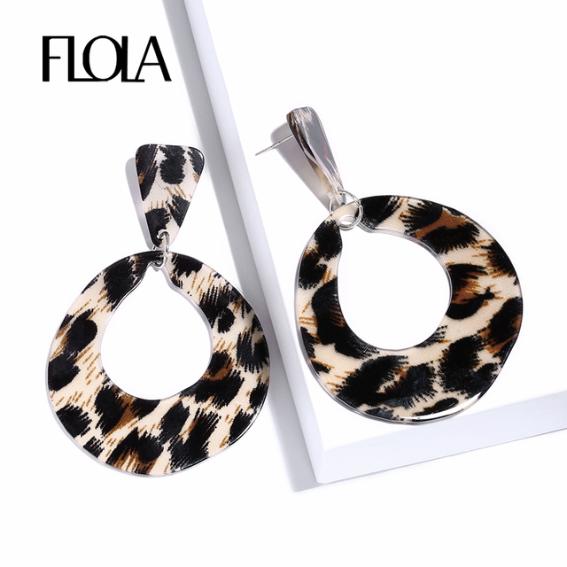 Flola 2018 Punk Leopard Hoop Earrings For Geometric Acrylic Animal Print Oorbellen Za