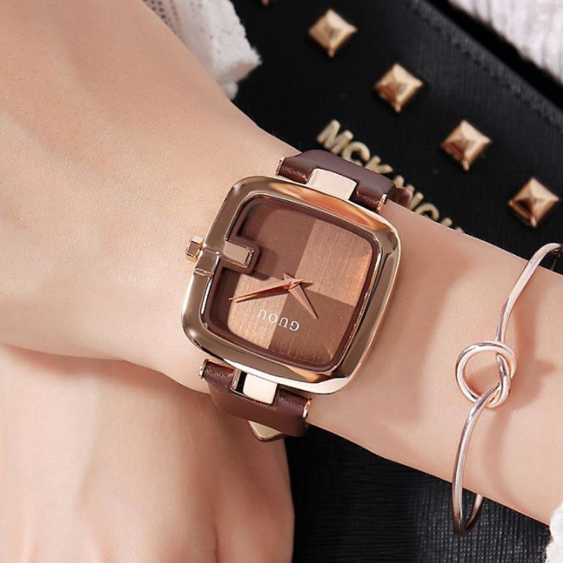 GUOU Women's Watches 2018 Hot Sale Ladies Watches For Women Watch Women Luxury Montre Femme Top Brand Luxury Square Clock Saat newly design dress ladies watches women leather analog clock women hour quartz wrist watch montre femme saat erkekler hot sale