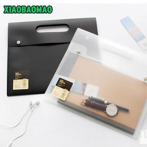 Upscale! PP A4 Document Bag Simple Transparent Office Bill / Note / File Folder / Bag / Pouch With Snap Button Cell Phone Pocket