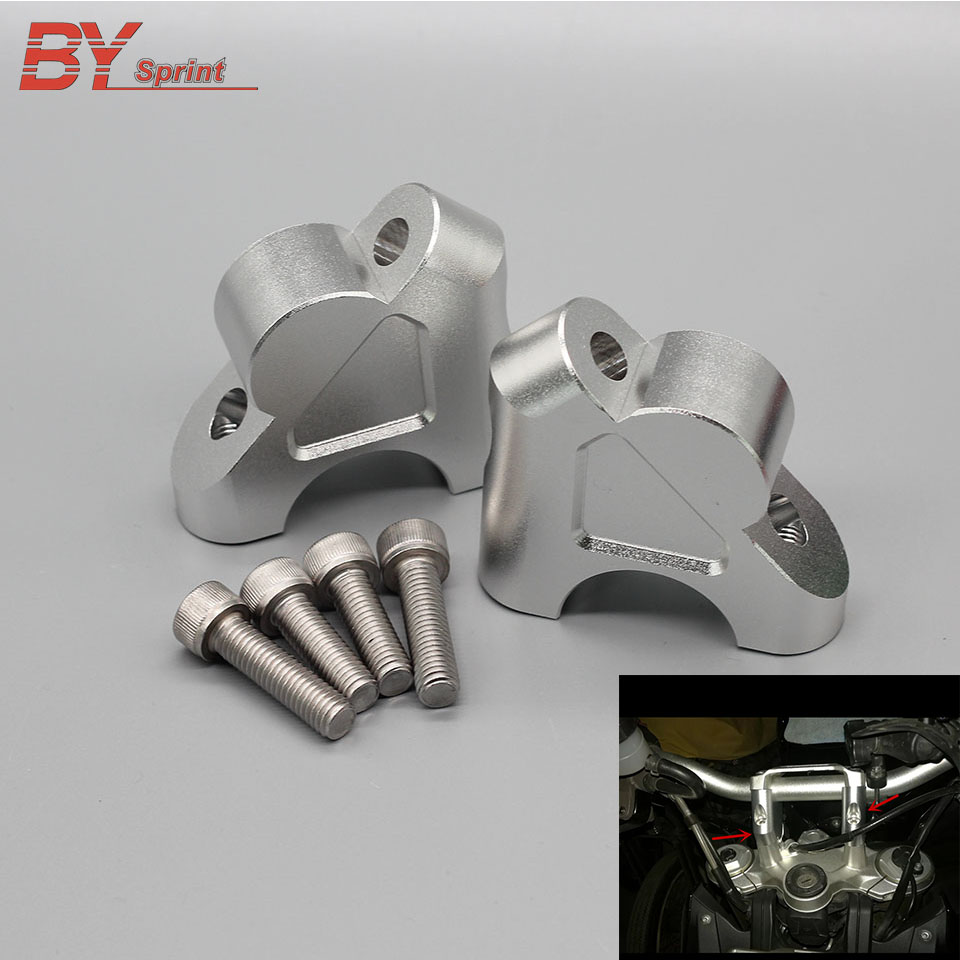 Motorcycle Silver Handle Bar Clamp Raised Extend Handlebar Mount Riser CNC <font><b>Accessories</b></font> For <font><b>BMW</b></font> <font><b>R1200GS</b></font> <font><b>LC</b></font> <font><b>ADV</b></font> 2014-2017 One Pair image