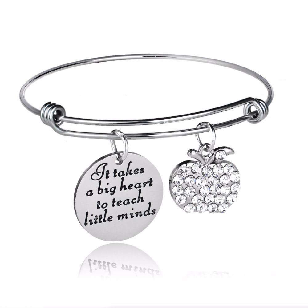 12PC/Lot Teachers Gifts It Takes A Big Heart To Teach Little Minds Crystal Apple Teacher Jewelry Bangle Stainless Steel Bracelet