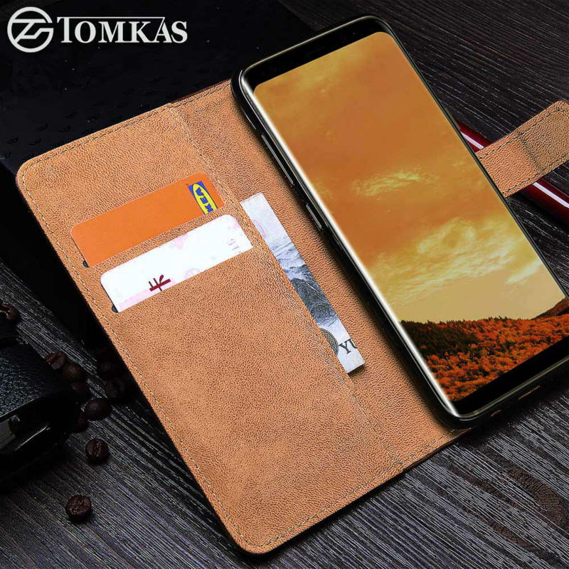 TOMKAS Θήκη για Samsung Galaxy S8 PU Δερμάτινο πορτοφόλι Business Cover για Galaxy S8 Plus Flip Phone Bag Cover For Samsung S8 Cases