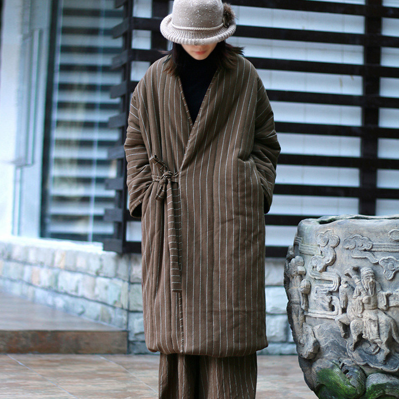 40b9e4ecd1b Johnature Women Vintage Belt Parkas Striped Coats V-Neck Long Sleeve Warm  2019 Autumn Winter