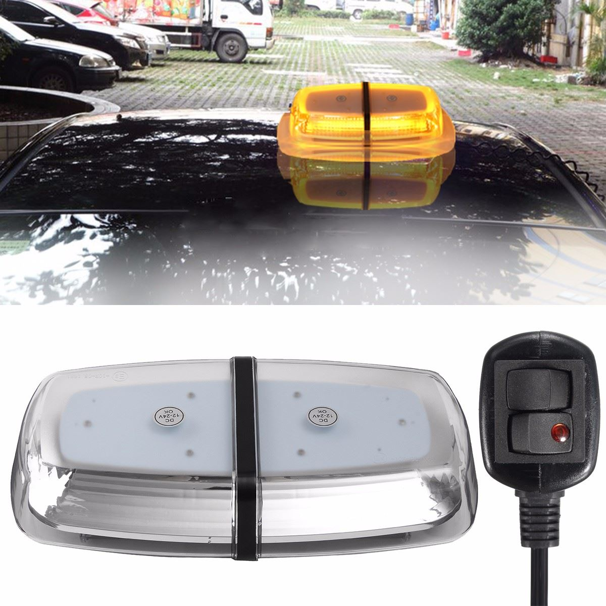 цена на 72LEDs Yellow 72W Car Roof Warning Light Dome Flashing Strobe Emergency Vehicle For Police Lights