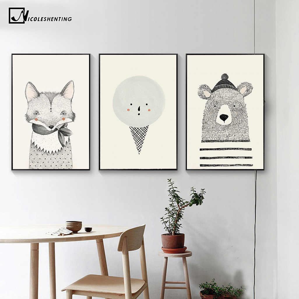 NICOLESHENTING Nordic Art หมีฟ็อกซ์ผ้าใบโปสเตอร์ภาพวาดการ์ตูนสัตว์ภาพพิมพ์เด็กตกแต่งห้อง