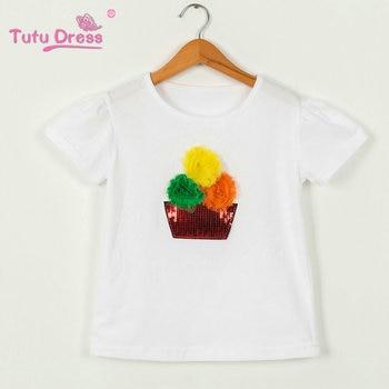 7b03695a47ba9 Summer New Sequins Kids Baby Girl Tshirts Short Sleeve Children Tops