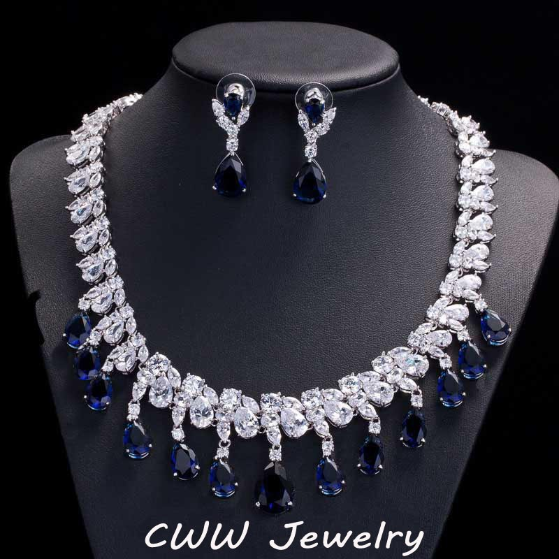CWWZircons Gorgeous Rayal Blue Cubic Zircon Engagement Bridal Earrings And Necklace Sets For Wedding Jewelry T125 a suit of tassel faux zircon necklace and earrings
