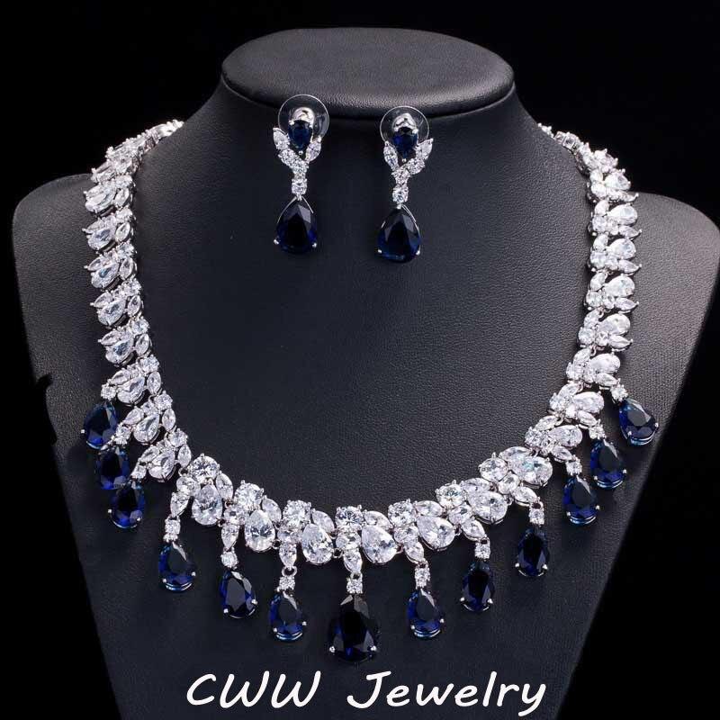 CWWZircons 화려한 Rayal 블루 큐빅 지르콘 약혼 신부 귀걸이와 목걸이 세트 웨딩 쥬얼리 T125-에서신부 쥬얼리 세트부터 쥬얼리 및 액세서리 의  그룹 1