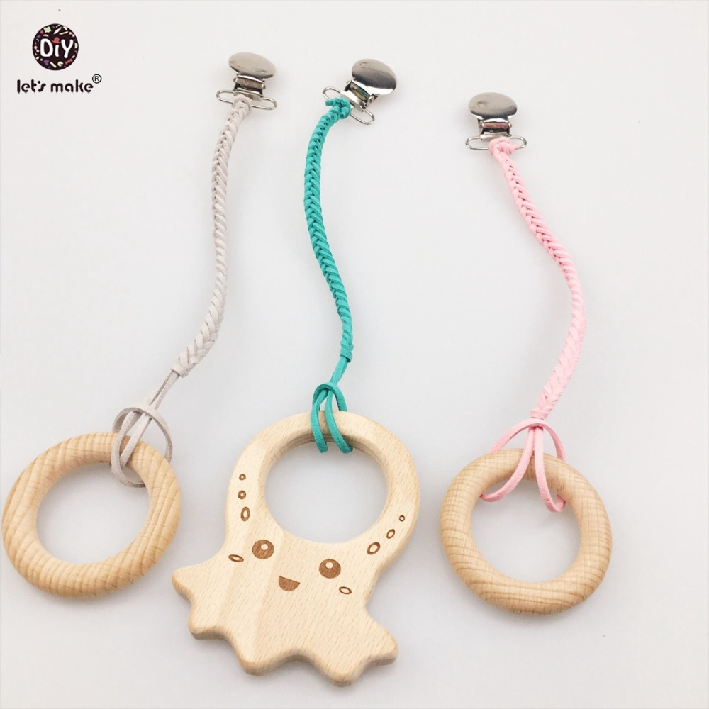 Lets Make Baby Braided Pacifier Clip 3pc Chew Wooden Ring Cute Octopus Car Seat Toy Shower Neutral Gift Pendants