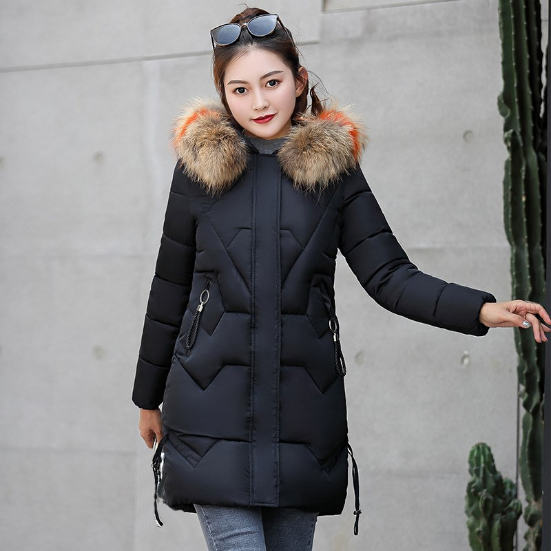 83c1cb3e09d18 2018 Winter Women Warm Long Hooded Parkas Solid Slim Long Sleeve Fur Collar  Thick Parkas Jackets Office Lady Casual Overcoat-in Parkas from Women s  Clothing ...