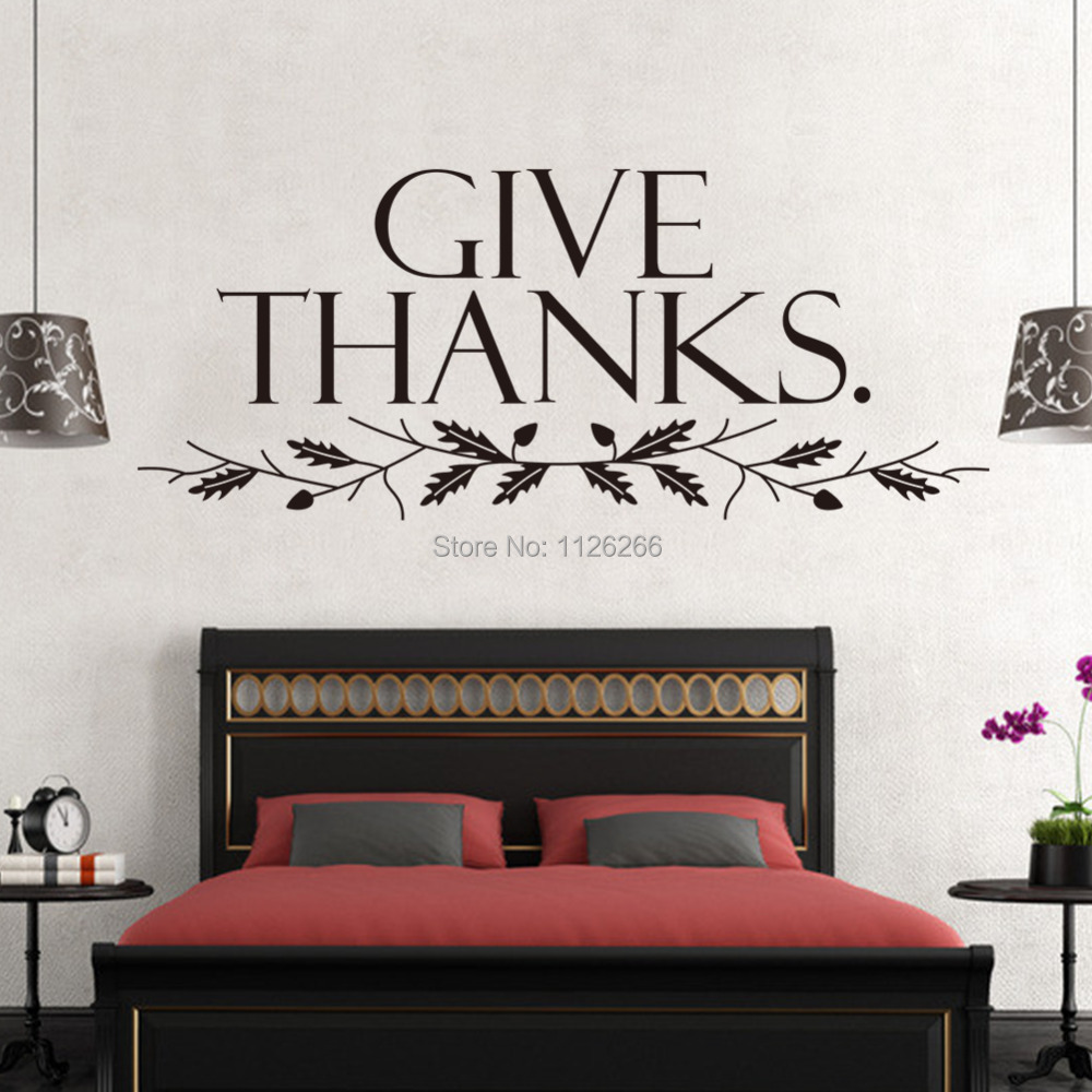 Bedroom wall art quotes - Aliexpress Com Buy Removable Wall Sticker Quotes Give Thanks Wall Art Decorative Decals Room Decor From Reliable Decorative Mirror Wall Stickers Suppliers