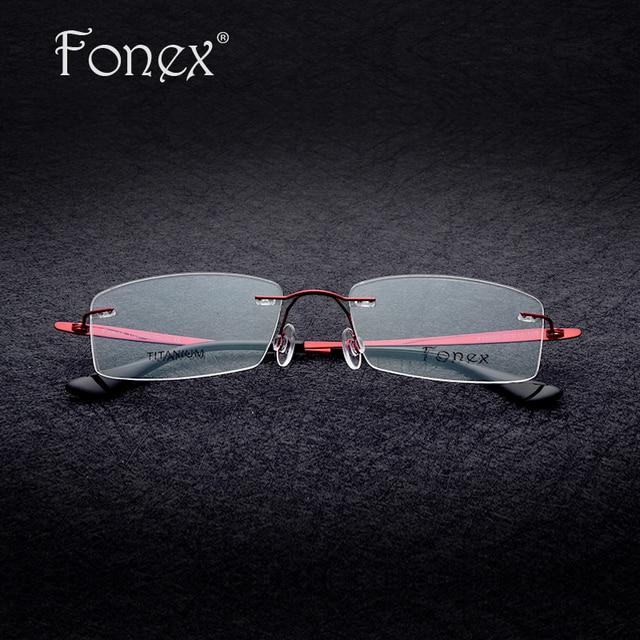 dd19fc96eb2c 2017 High Quality Women Rimless Glasses Memory Titanium Square Eyeglasses  Prescription Myopia Optical Frame red/