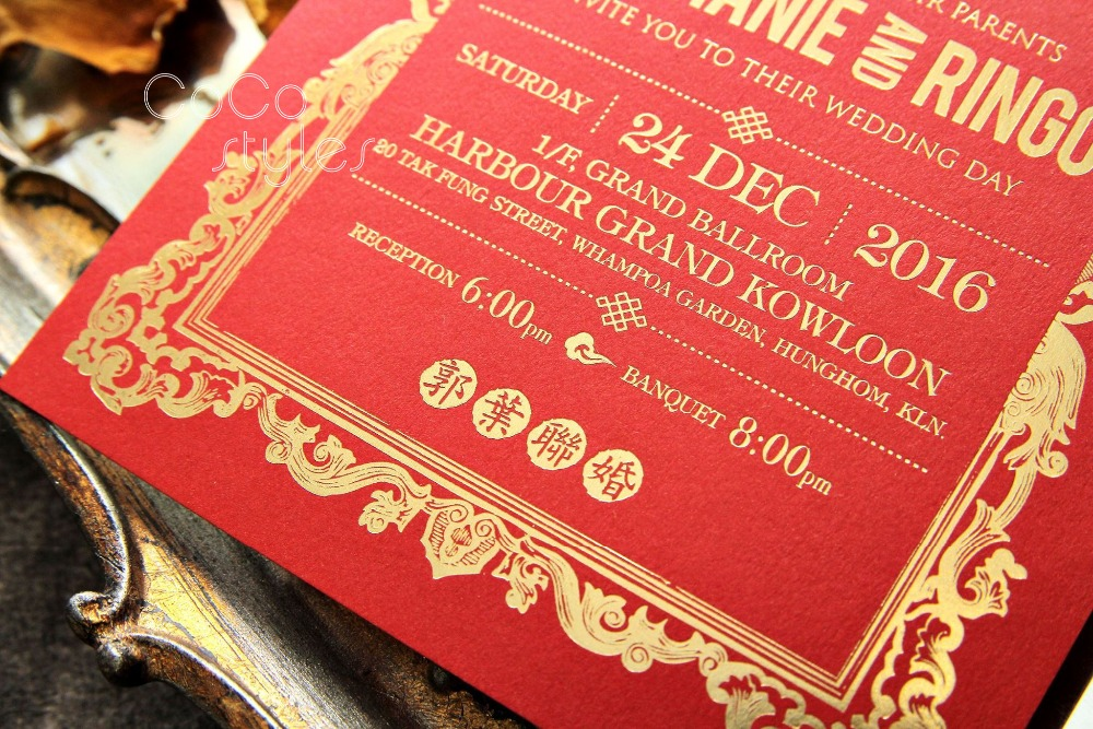 Us 260 0 Cocostyles Bespoke Elegant Gold Foiling Wedding Invitation Card Design With Different Pattern Design Styles In Cards Invitations From