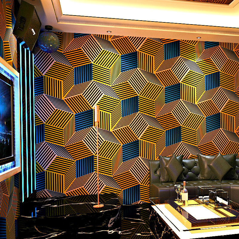 Geometric Wallpapers 3D Personalized Lattice Wall Paper Roll for Bar KTV Room Wall Decor Background Wallpaper Roll for Walls блузка женская sela цвет черный ts 111 1057 8121 размер l 48