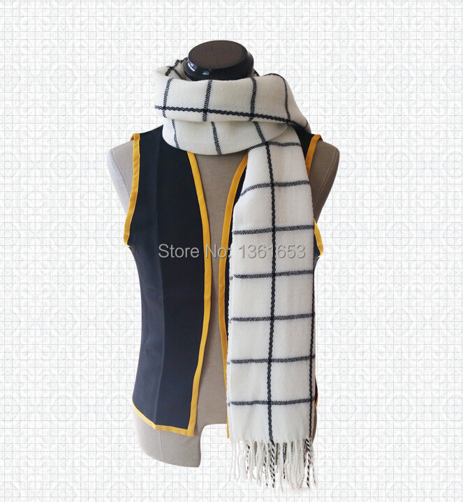 Anime Fairy Tail Natsu Dragneel Scarf High-quarlity cool Cosplay Costume white checks tassel scarf Muffler