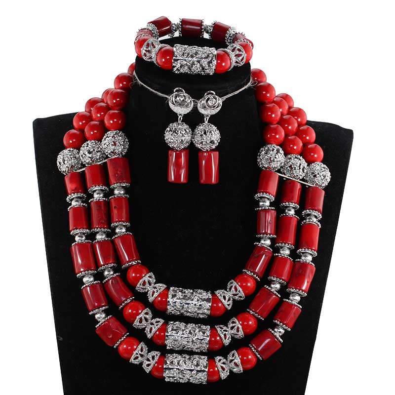 Elegant Red and Silver Bridal Coral Beads Jewelry Set Red Nigerian African Real Coral Beads Women Jewelry Set CNR067