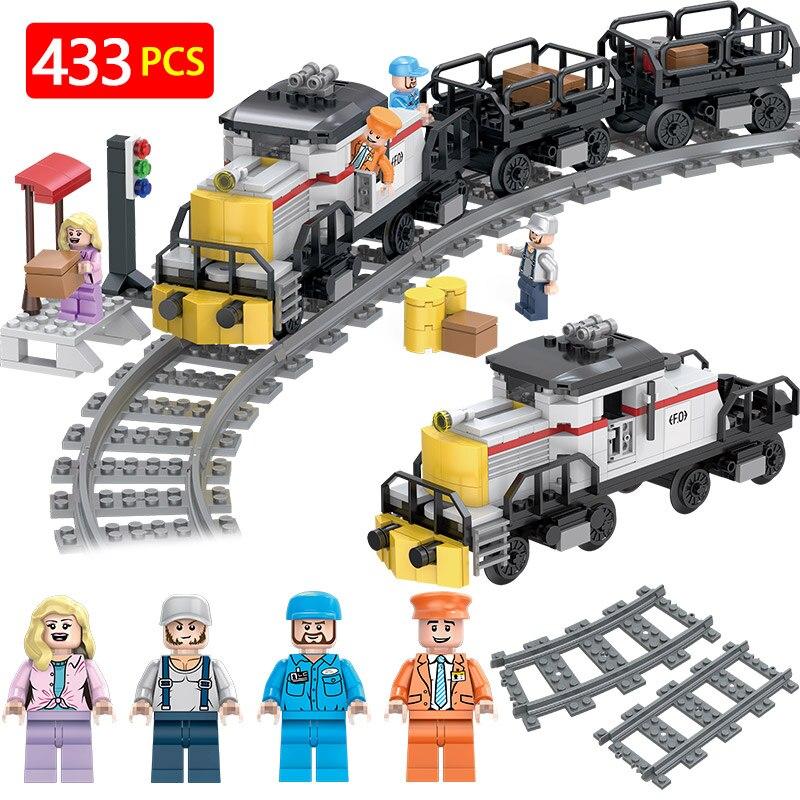 Technique Chemins De Fer Compatible LegoINGLYS Ville Designer Train Fret Puissance Modèle Blocs Brique Jouets Pour Enfants Cadeau D'anniversaire