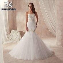 Vestido De Festa De Casamento bez ramiączek Ruched Tulle Slim Sexy syrenka suknia ślubna 2021 srebrne koronkowe aplikacje suknie ślubne