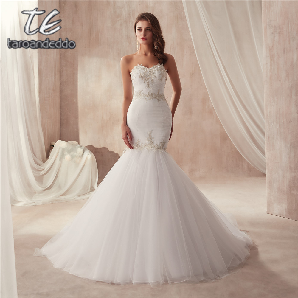 vestido de festa de casamento Strapless Ruched Tulle Slim Sexy Mermaid Wedding Dress with Silver Lace Applique Bridal Gowns-in Wedding Dresses from Weddings & Events