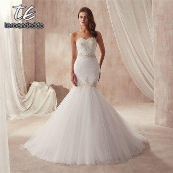 vestido de festa de casamento Strapless Ruched Tulle Slim Sexy Mermaid Wedding Dress with Silver Lace Applique Bridal Gowns