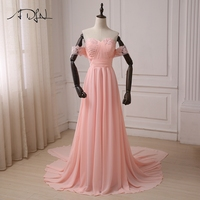 ADLN Pink Beach Wedding Dresses Chiffon Off The Shoulder Applique Pleats A Line Women Wedding Gowns
