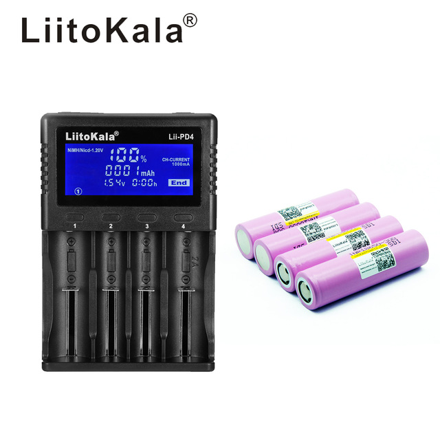 1 pcs LiitoKala lii PD4 LCD 3.7 v 18650 21700 Battery Charger + INR18650 4 pcs 3.7 v 18650 3000 mAh 30Q Rechargeable li ion Batt