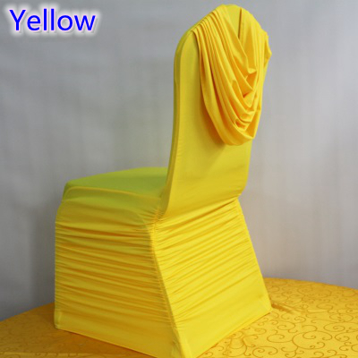yellow chair covers wheelchair repair singapore colour universal lycra ruffled top cover spandex pleated luxury wedding decoration wholesale