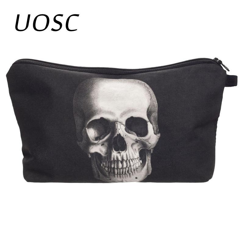 UOSC Skull Monster 3D Printing Makeup Bag Maleta De Maquiagem Cosmetic Bag Necessaire Bags Organizer Party Neceser Maquillaje