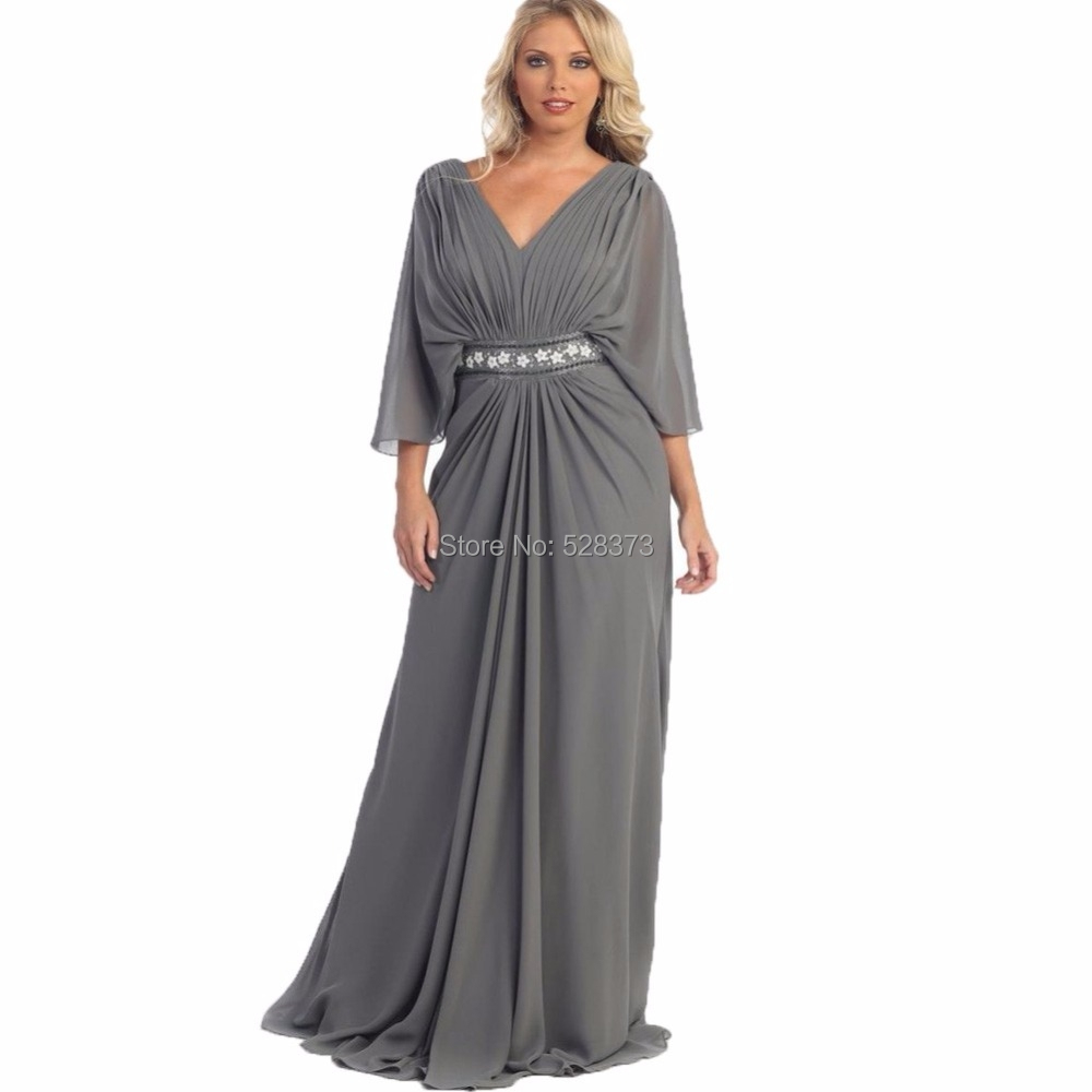 US $80.1 10% OFF|YNQNFS MD25 Chiffon 3/4 Long Sleeves Plus Size Mother of  the Bride/Groom Dresses Outfits Grey-in Mother of the Bride Dresses from ...