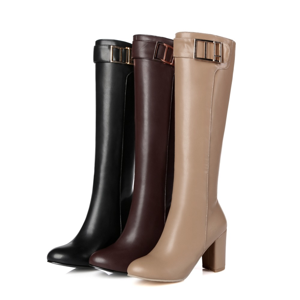 Brand New Black Wine Red Women Knee High Boots Fashion Square Lady Over Buckle Shoes Breathable EKN10 Plus Big size 10 11 32 45