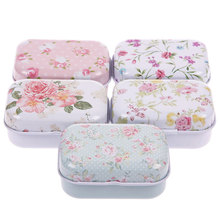 1Pc Cute Small Size Metal Storage Box Mini Tin Jewelry Storage Box Zakka Girl Favor Household Lovely Iron Box #52042(China)