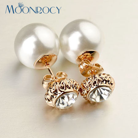 MOONROCY Drop Shipping Crystal Earrings Zirconia Fashion Wholesale Rose Gold Color Imitation pearl earrings for women Gift
