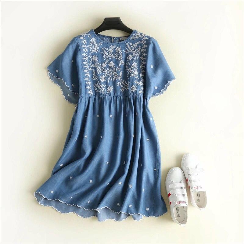 fashion temperament loose embroidery wave side denim dress mori girl 2018 Summer