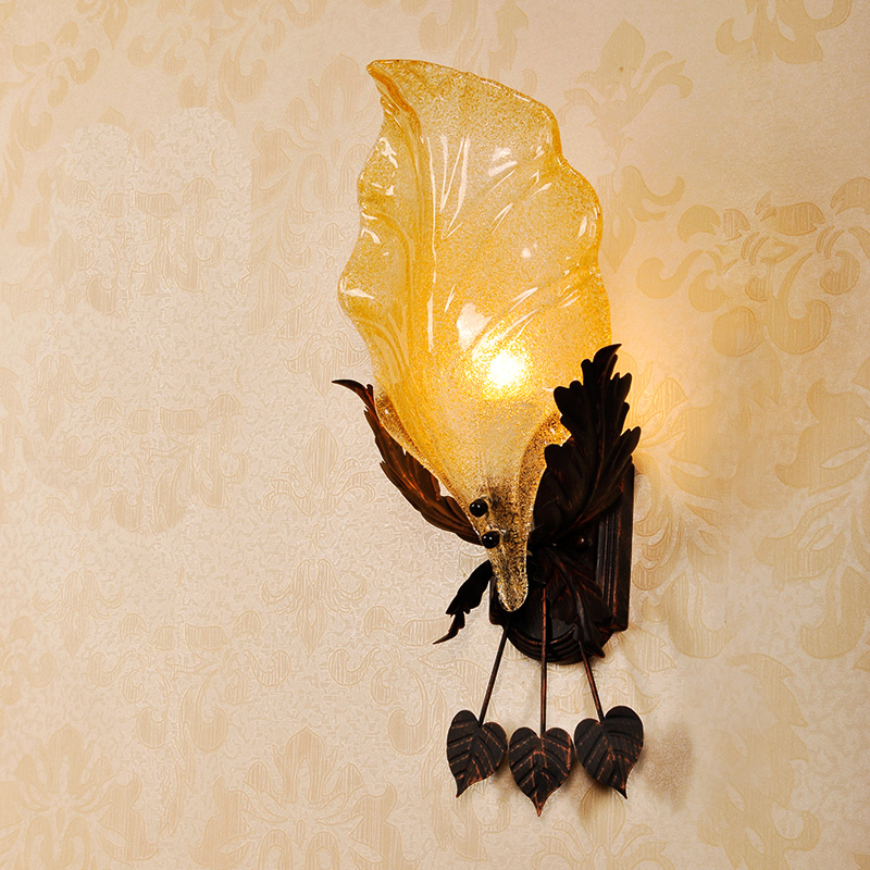 modern Leaf classical countryside iron Glass Bedroom Creative Pistil Wall Brackets Light Wall Light Living room Wall Sconces