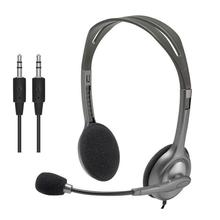 цена на Logitech H110/H111/H340 Wired Stereo Headset with Microphone Earphones 3.5mm Headphones for computer smartphone or tablet PC