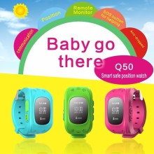 GPS Tracker Watch For Kids SOS Emergency Anti Lost Bracelet Wristband Q50 Wearable Devices OLED scree for Smart Phone App 8color