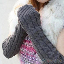 Women's Men's Long Knitted Crochet Fingerless Braided Arm Warmer Gloves