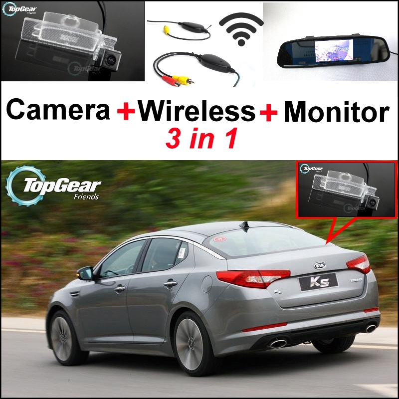 3 in1 Special Rear View Camera + Wireless Receiver + Mirror Monitor Easy DIY Back Up Parking System For KIA K5 Optima 2010~2015 wireless pager system 433 92mhz wireless restaurant table buzzer with monitor and watch receiver 3 display 42 call button