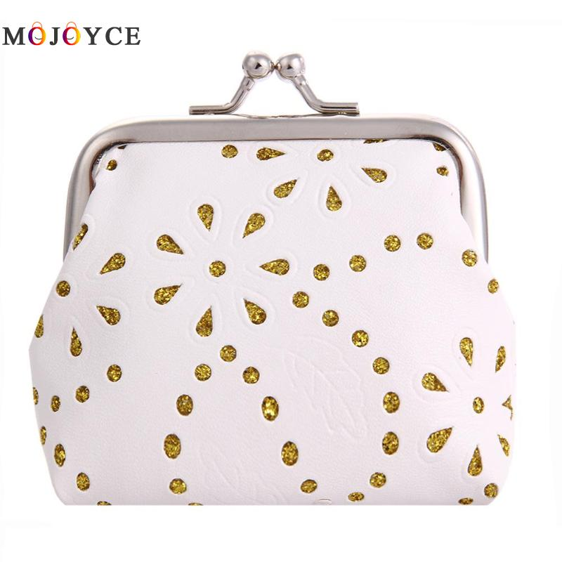 Women Kids Hollow Out Flower Mini Coin Purse PU Leather Metal Frame Clip Card Clutch Holder Case Ladies Small Clutch Bag