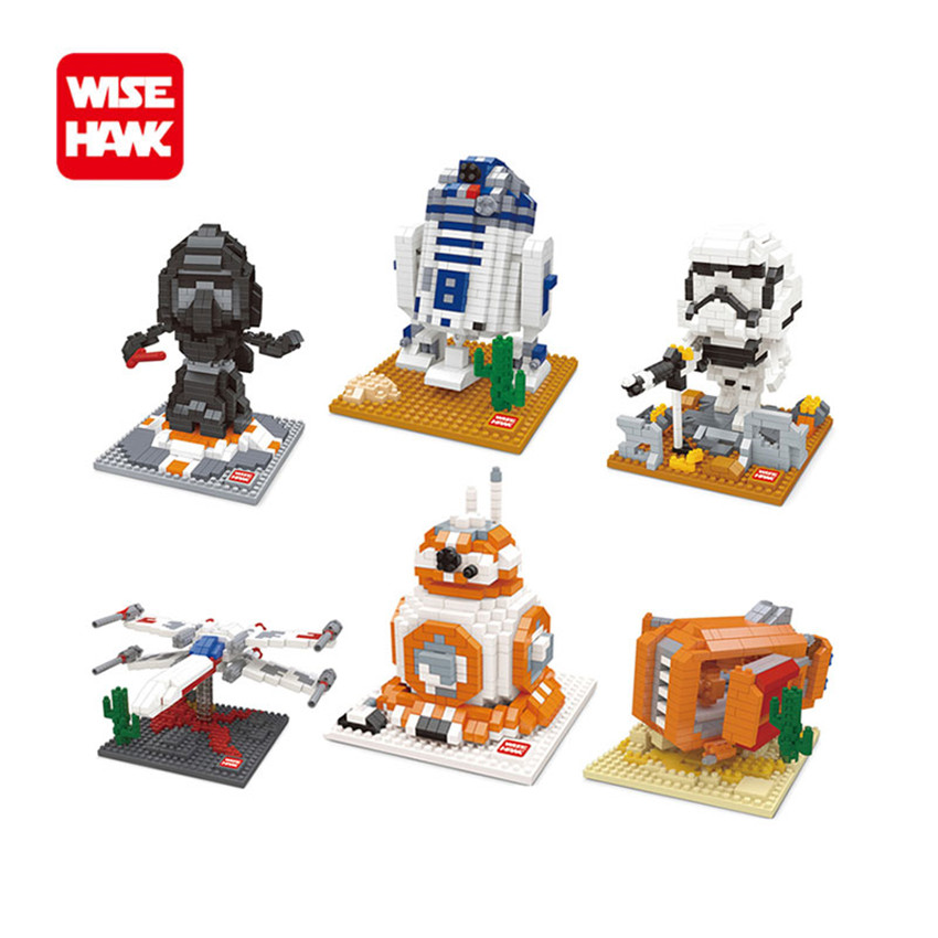 WiseHawk Nano Blocks Darth Vader Stormtrooper BB8 Series Action Figure DIY Building Bricks Creative Toys Chirstmas Gift For Kids lepin 42010 590pcs creative series brick box legoingly sets building nano blocks diy bricks educational toys for kids gift