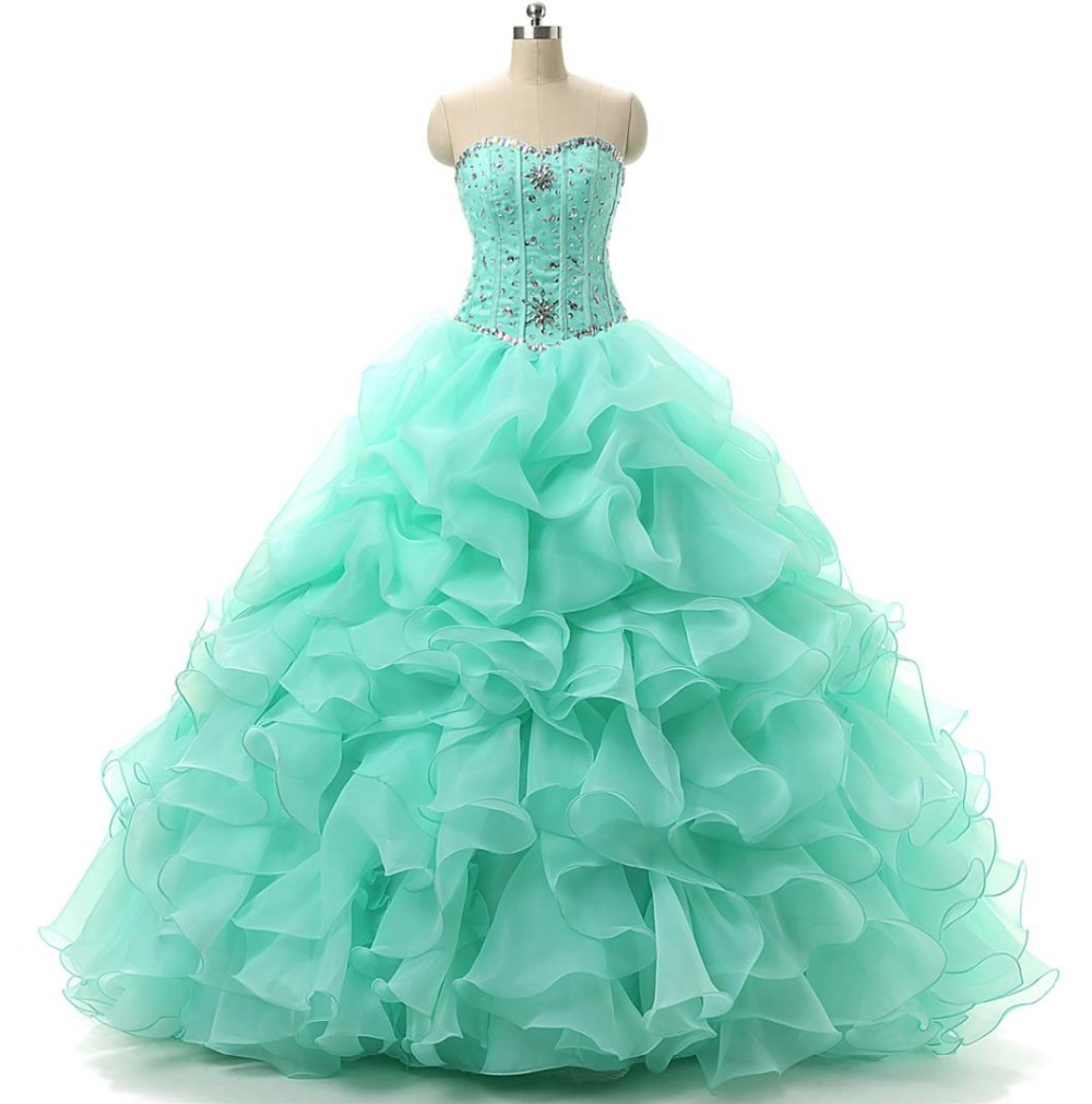 Popular Cheap Ball Gowns Mint Green Quinceanera Dresses-Buy Cheap ...