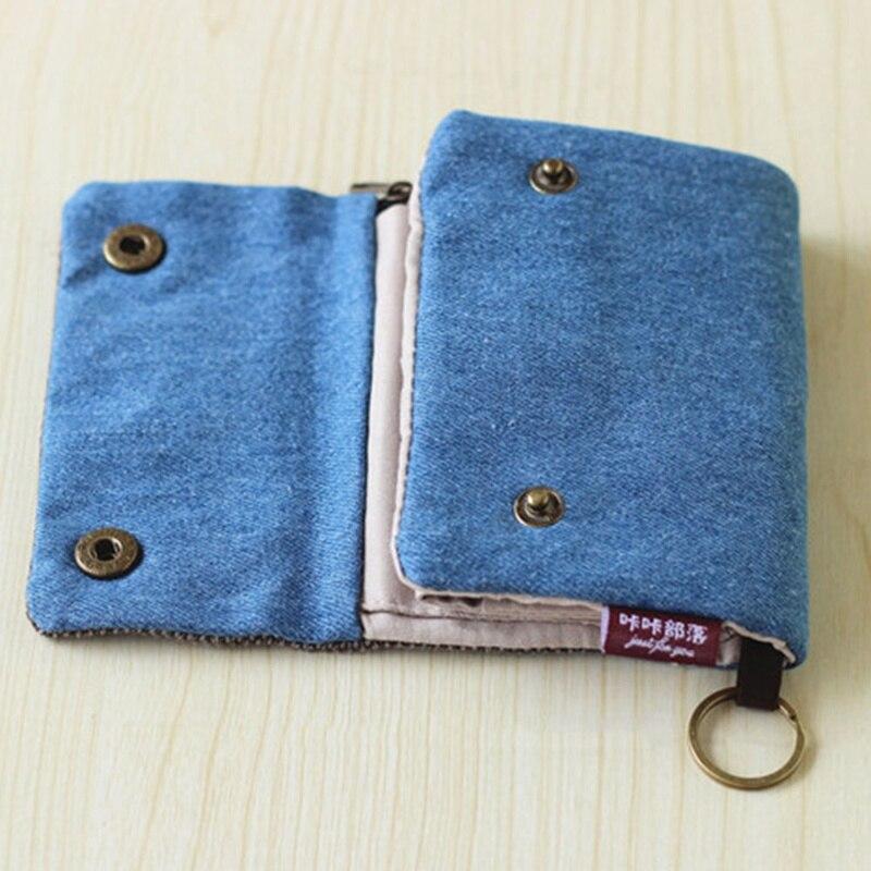 Short Wallet Men Purse Female Cotton-Fabric Multifunction Blue Large-Capacity Women Ladies
