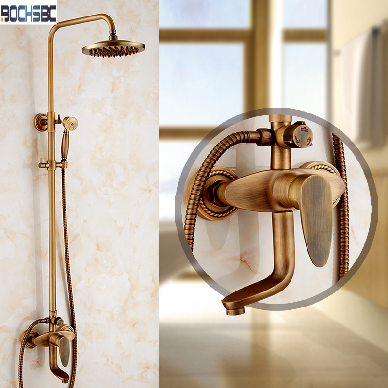 bochsbc copper rainfall shower set with 3 gears antique european shower suite rainfall shower head hot