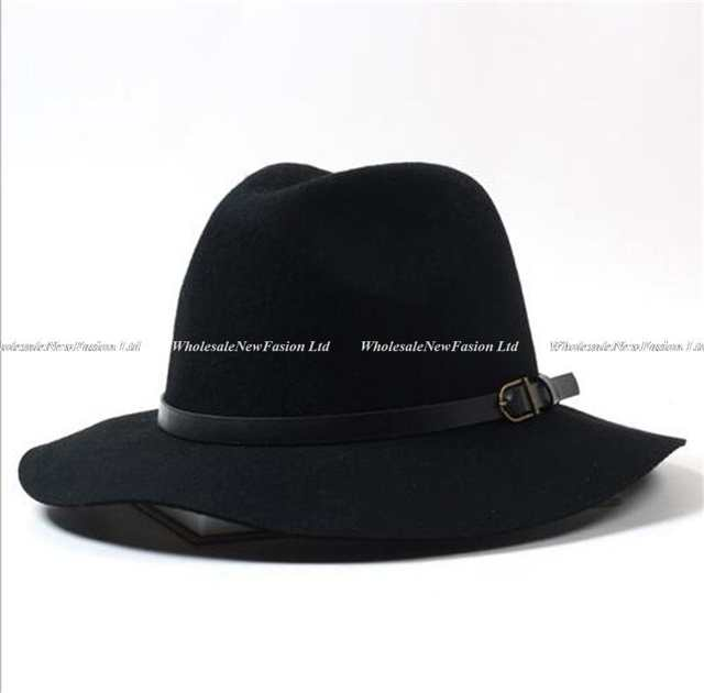 d053f759e0e1e 12pcs/Lot Brand New Mens Floppy Wool Fedoras Hats Women Spring Woolen Felt  Hat Mens Trilby Brim Cap Men Winter Fedora Caps Bulk-in Fedoras from  Apparel ...