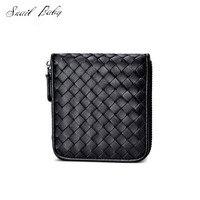 new woven genuine leather wallet mini bag men short wallet female sheepskin woven zipper wallet
