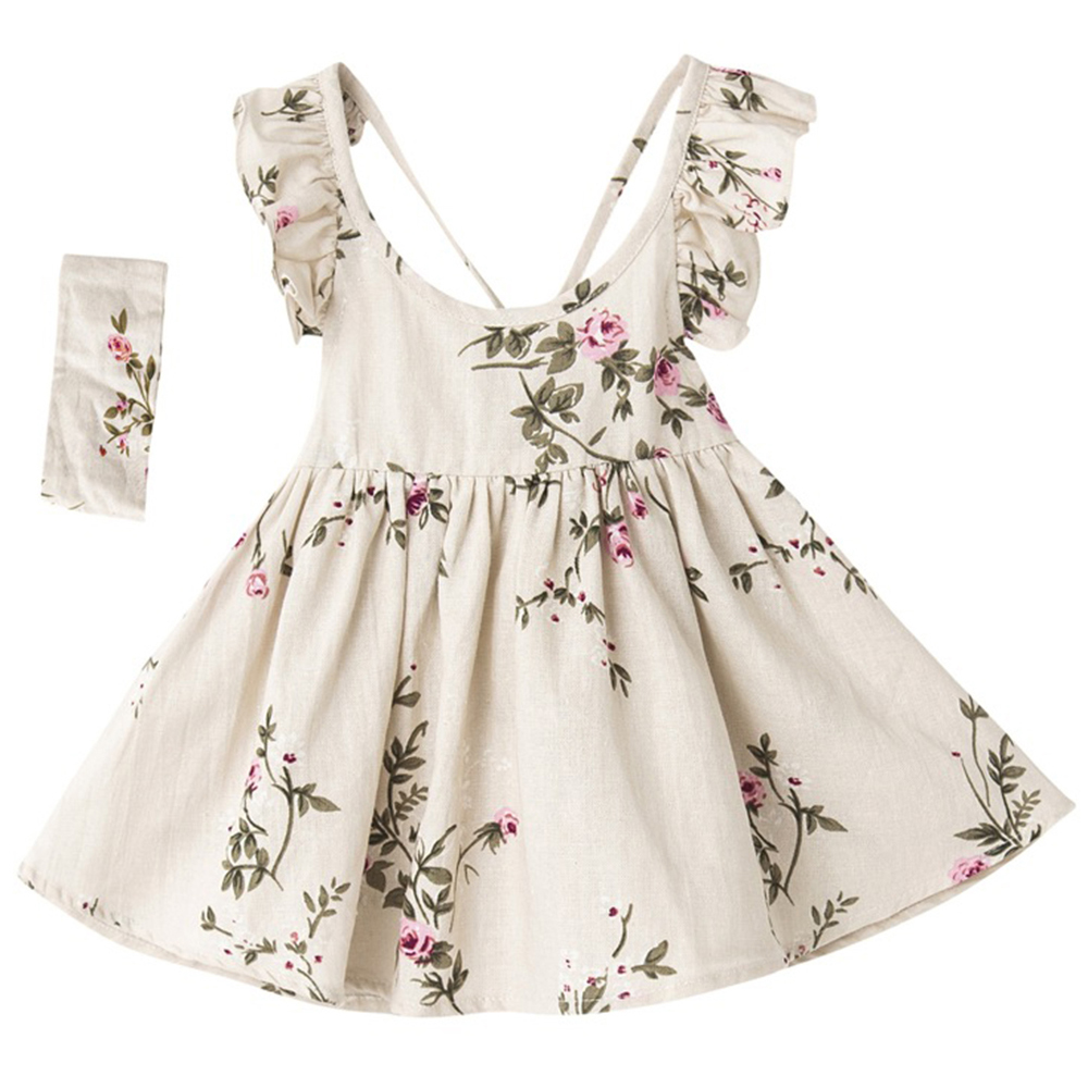 Summer Baby Girls Dress Casual A Line Backless Ruffled Floral Print Braces Dresses For Girls Toddler Children Clothing