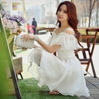 Dabuwawa Summer White Mini Dress Women's fashion strap halter Dress Holiday Party Sexy Swing Dresses D17BDR127