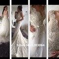 Спинки кружева свадебное платье 2016 последние v-образным вырезом русалка свадебные платья Vestidos Noiva винтаж свадебные платья свадебные платья