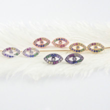 5Pairs,The Rainbow Series, Women FashionThe Shape of Eyes Earrings.Four Plateing Colors,Colorful CZ, Can Mix цена