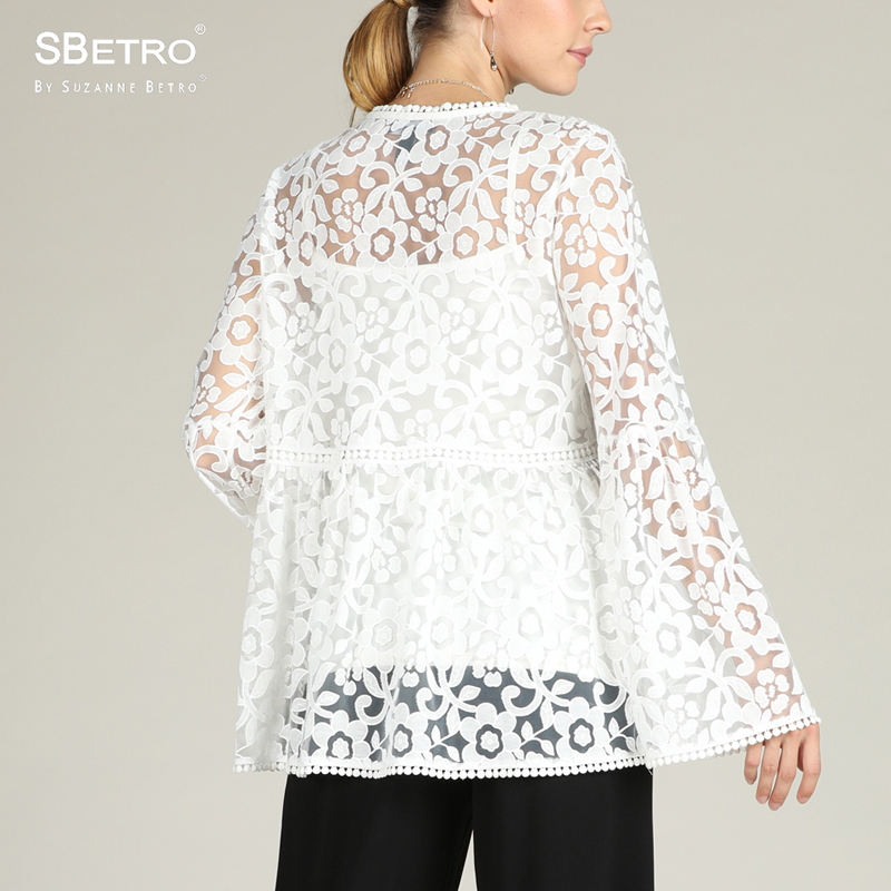 ba5246177a7 SBetro By Suzanne Betro Lace Women Blouse V Neck Shirts White Long Bell Sleeve  Fashion Plus size Party Ladies Tunic Tops Blouses-in Blouses & Shirts from  ...